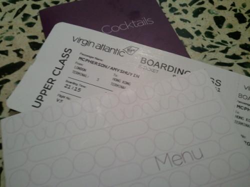 Virgin Atlantic boarding pass and menu - Amy McPherson