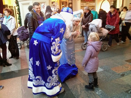 The Russian 'Santa' - Ded Moroz - dresses in blue and is accompanied by his grand daughter, apparently to make sure he doesn't get too drunk on vodka to give out presents!