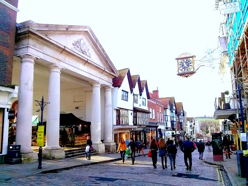 The Guildford high street - believed to be the most beautiful high street in Britain.