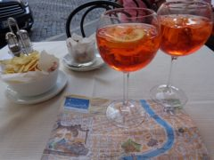 Pondering our travels over a glass of 'Spritze' - one of Italy's most iconic cocktails made with prosecco.
